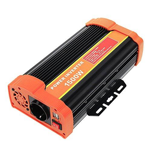 Signstek, trasformatore di tensione per auto, 12 V CC a 220 V, per computer, laptop o proiettore, con presa UE, porta USB 2.1A, clip per batteria dell'auto, cavo, 300 W/600 W/1000 W/1500 W