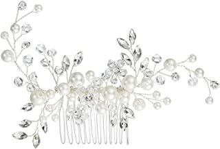 Mlouye Bridal Hair Comb Wedding Hair Accessories for Brides and Bridesmaids (12 Options) Flower Vine Leaf Clear Crystal Simulatd Pearl Women Strand Bracelets