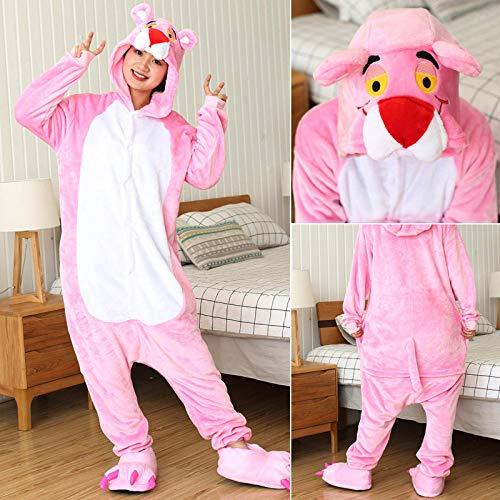 HGDS Conjuntos de Pijamas para Mujer, Pijamas de Franela con Puntos de Animales, Pijamas de Invierno para Mujer, Ropa de Dormir, Disfraces de Cosplay para el hogar-Pantera Rosa_12T Altura 135-145 CM