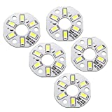 Bombilla con chip LED 300mA 3W 6 LED 5730 Módulo SMD Tablero de aluminio Blanco puro Super brillante 32mm Dia 5 uds para reflector