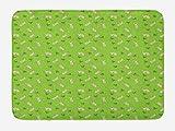 ABAKUHAUS Conejito Tapete para Baño, Modelo con los Conejos y Las Zanahorias, Decorativo de Felpa Estampada con Dorso Antideslizante, 45 cm x 75 cm, Cal Verde Multicolor