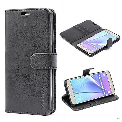 Mulbess Handyhülle für Samsung Galaxy Note 5 Hülle Leder, Samsung Galaxy Note 5 Handytasche, Vintage Flip Hüllen Schutzhülle für Samsung Galaxy Note 5 Hülle, Schwarz