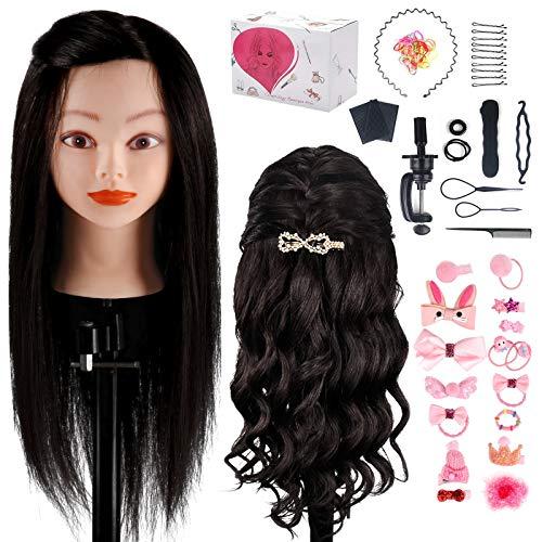 TwoWin - Cabeza de entrenamiento para peluquería (45,7 cm, 100% cabello humano,...