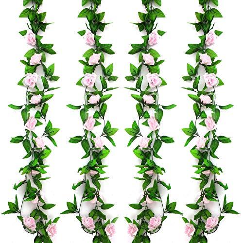 Pauwer 6 Pezzi 14,6 m Fiori Artificiali Artificiale Ghirlanda Rose di Fiori Seta Appesa Rattan Ghirlanda Simulazione Pianta per Decorazione Floreale Giardino Soggiorno Appendere