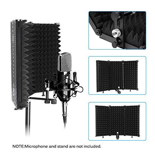 PopHMN Escudo De Aislamiento De Micrófono, Reflector De Espuma De Absorción De Sonido Plegable Para Equipos De Grabación De Mesa De Encimera