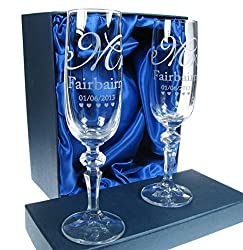 Personalised Crystal Engraved Wedding Champagne Flutes