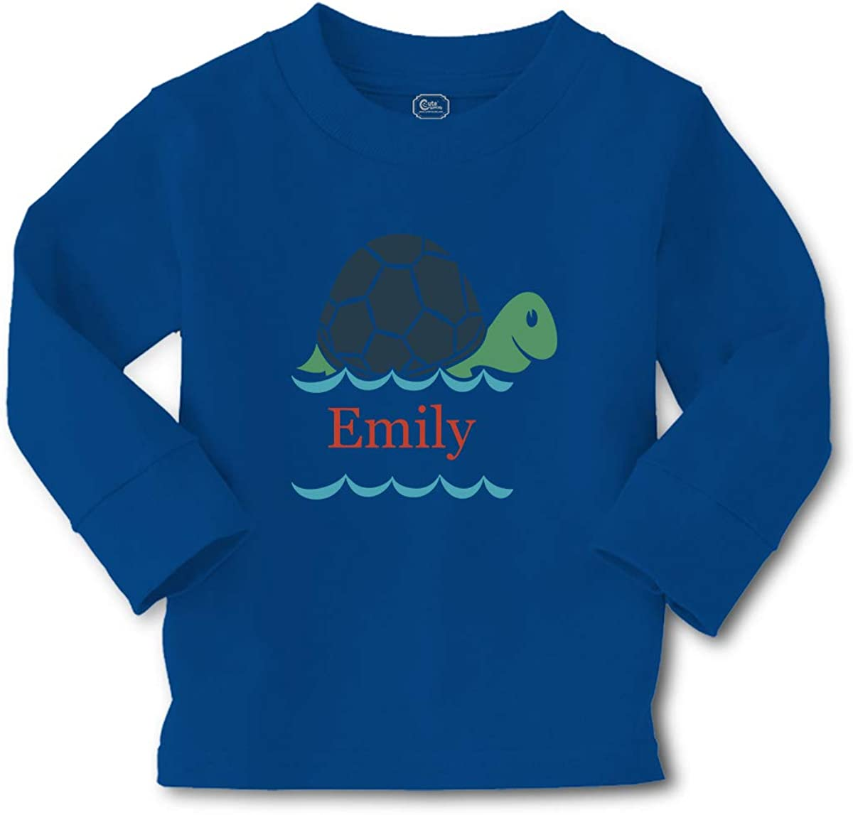 Custom Kids Long Sleeve T Shirt Personalized Name Turtle Sea Life D Cotton Boy & Girl Clothes Funny Graphic Tee Royal Blue Personalized Text Here 2T