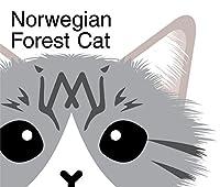 チラ見 ふわもこ 猫 ステッカー ノルウェージャン フォレスト キャット シルバー タビー & ホワイト