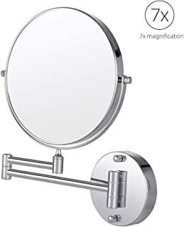 Cozzine Wall Mount Makeup Mirror, 7X Magnifying Two Side Vanity Extendable Bathroom Mirror, Chrome Finish