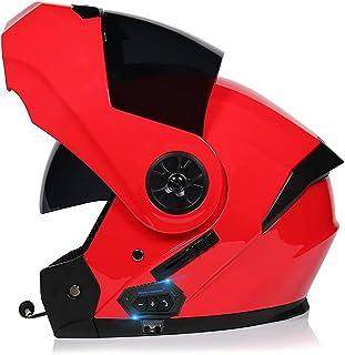 Casco De Moto Modular Bluetooth Integrado,Casco Ligero con Doble Parasol Anticolisión para Hombres Y Mujeres Scooter De Cu...