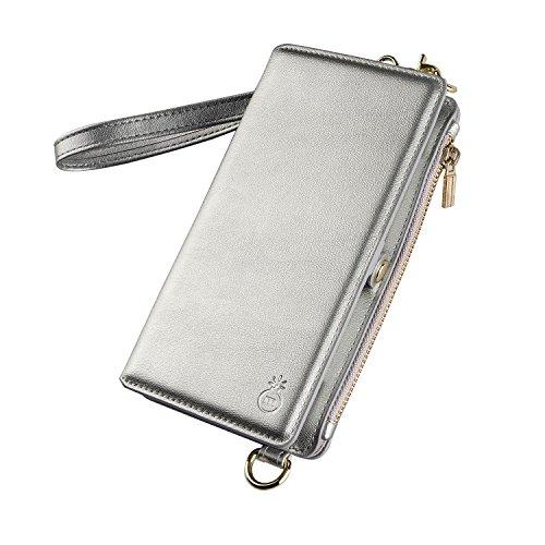iPhone SE ケース [第2世代] iPhone 7 ケース 手帳型 iPhone 8 ケース ショルダーバック 財布 レディース ストラップ付き 分離型 カード収納 スタンド機能 衝撃吸収 (iPhone SE[第2世代], 銀色)