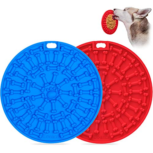 Dog Lick Pad 2Pcs, Slow Dispensing Treater Mat with 37 Strong Suctions to Wall, Dog Bath Distraction Device, Peanut Butter Lick Mat for Pet Bathing, Grooming and Dog Training