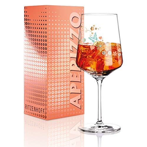 RITZENHOFF Aperizzo Aperitifglas von Kathrin Stockebrand, aus Kristallglas, 600 ml, mit edlen Goldanteilen