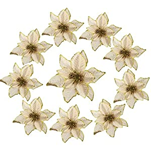 10 Pieces Christmas Glitter Poinsettia Flowers, Christmas Tree Ornaments Artificial Wedding Poinsettia Flowers for Christmas Tree Wreaths Decor Ornament(Gold)