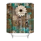 Rustic Floral Butterfly Teal Brown Shower Curtain...