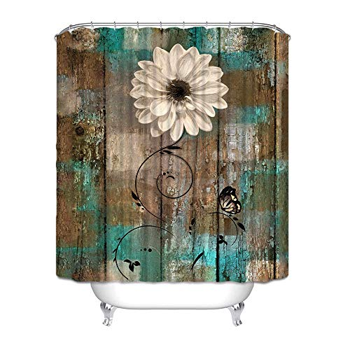 """Joyloce Rustic Floral Butterfly Teal Brown Shower Curtain Set with 10 Hooks Polyester Fabric Waterproof Bathroom Accessories Home Decor 60"""" X 72"""""""