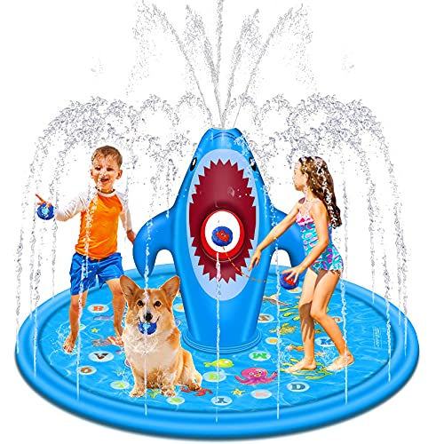 """Tobeape 70"""" Large Splash Pad, Sprinkler Play Mat for Kids, Outdoor Water Toys with Sandbags Fun Game, """"from A to Z"""" Wading Pool for Learning, Inflatable Summer Gifts for Babies Toddlers"""