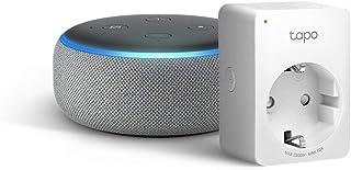 Echo Dot (3ª generazione) - Tessuto grigio mélange +Tapo P100 Presa intelligente Wi-Fi, compatibile con Alexa