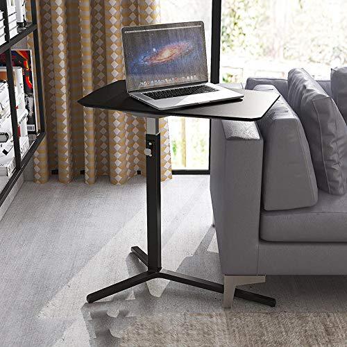 Black Carbon Steel Fold Away Desk Table with Black Density Board,Adjustable Height,Pop Up Desk for MacBook Pro/Air,Samsung HP Surface Notebook