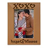 Kate Posh - XOXO Hugs and Kisses - Engraved Natural Wood Picture Frame - Engagement, Valentine's, Weddings, I Love You Gifts (5x7-Vertical)