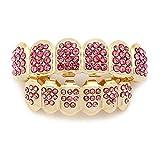 Diamond Gold-Plate Gorro de dientes HIPHOP, europeo americano INS Los dientes de oro y negro y plata más calientes del mundo refuerzan los dientes de la boca (Color : Pink)