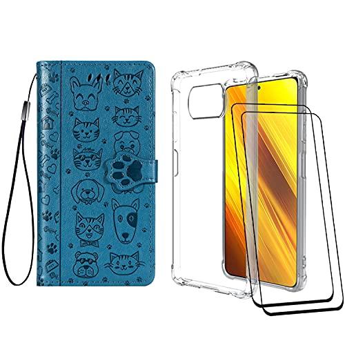 [2 Pack] Funda para Xiaomi Poco X3 Pro/Poco X3 NFC/Poco X3 + Protector de Pantalla Cristal Templado, Carcasa Libro con Tapa Antigolpes Case Silicona TPU Color Transparente + Azul