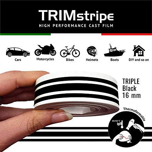 4R Quattroerre.it 10524 Trim Stripes Strisce Adesive per Auto, Nero, 3F 16 mm x 10 mt