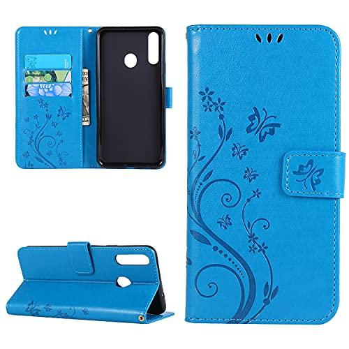 samanoya Handyhülle Galaxy A20s, Samsung A20s PU Leder Hülle,mit Magnetverschluss Kreditkarten & Standfunktion Lederhülle Handytasche für Samsung Galaxy A20s (Galaxy A20s, Blue)