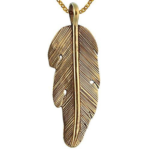 Chic-Net Messing Brass Anhänger Feder Rillen golden Kette nickelfrei Tribal antik Schmuck