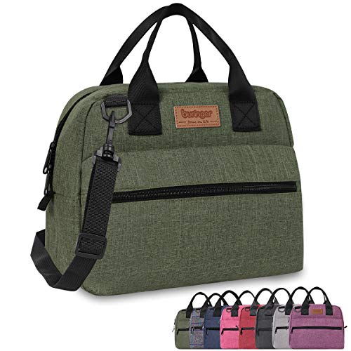 Buringer Insulated Lunch Bag Box Cooler Totes Handbag with Front and Back Pockets For Man and Woman Work Shopping (Green with Shoulder Strap)