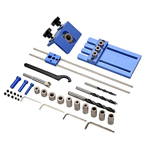 HYY-YY Drill Guide, Hole Drill Guide Dowel Jig Set With Drilling Bits Depth Stop Collar Woodworking Positioning Tools Drill Bits Hex Keys for Precise Dowel Alignment