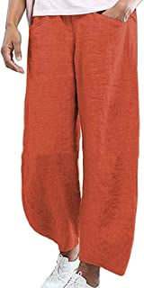 GAGA Women Wide Leg Casual Linen Straight Solid Palazzo Pant Pink X-Small