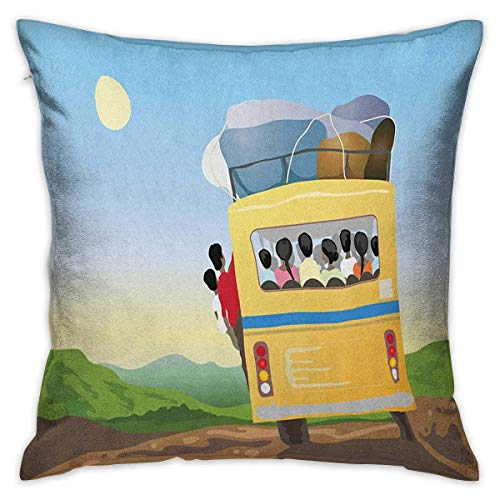 Cartoon Square Throw Pillow Covers Yellow Bus Full of Passengers and Luggage Driving in Asian Meadows Warm Spring Day Multicolor Cushion Cases Pillowcases for Sofa Bedroom Car
