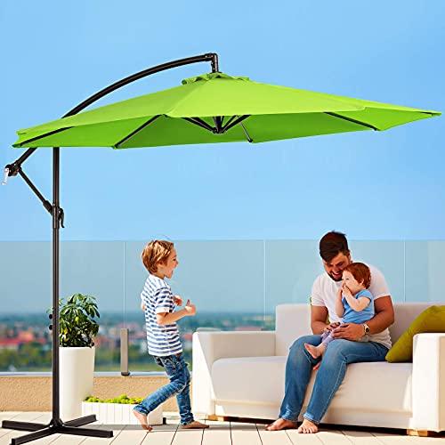 VOUA Offset Patio Umbrella 10ft Outdoor Cantilever Umbrella 8 Ribs Hanging Umbrella Tilt Adjustment Design Waterproof and UV Protection fabric with Crank & Cross Base, Apple Green