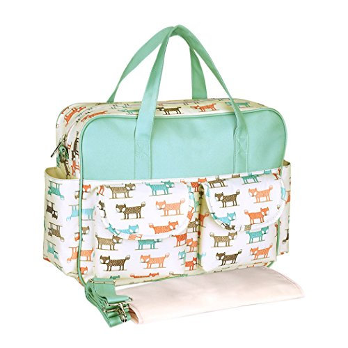 YoungSoul Baby Wickeltaschen Wickelumhängetaschen mit Wickelunterlage und Kinderwagen Haken, Reise Babytasche für kinderwagen Netter Fuchs