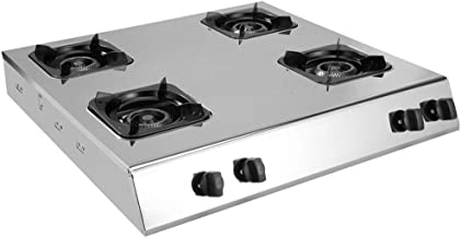 Household Stainless Steel Cooktop Stove, Cast Iron Burner + Pulse Electronic Ignition 3/4/6 Burner Gas Stoves, Suitable fo...
