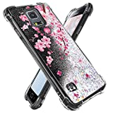Miss Arts for Galaxy S5 Case,Girls Women Flowing Liquid Holographic Holo Glitter Shock Proof Case Reinforced Girly Shockproof Protective Cover for Samsung Galaxy S5 -Cherry Blossom