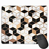 """Marble Texture Design With Golden Geometric Lines Mouse Pad Non-Slip Rubber Gaming Mouse Pad Rectangle Mouse Pads for Computers Desktops Laptop 9.8"""" x 11.8"""""""