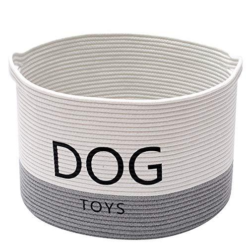Morezi Hundespielzeugkorb aus Baumwollseil, rund, mit Griff, großer Hundeabfalleimer – perfekt für die Organisation von Haustierspielzeug, Decken, Leinen – Weiß/Grau