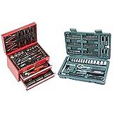 Mannesmann - M29066 - Valigetta degli attrezzi, 155 pezzi & M29166 - Set chiavi a tubo, a cricchetto, In valigetta di plastica, 130 pezzi