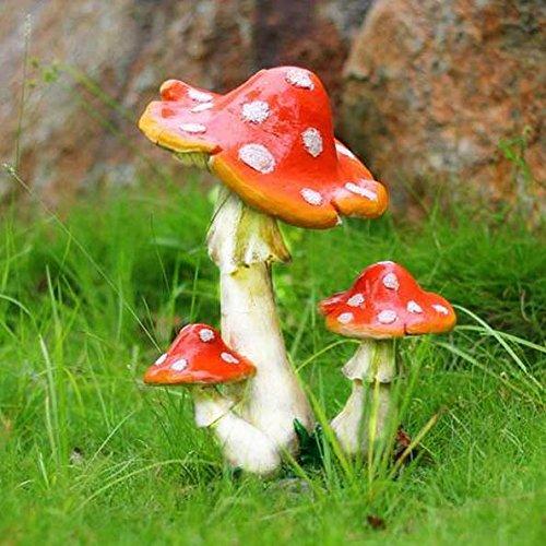 Bureze Mini champignon en résine pour décoration de jardin