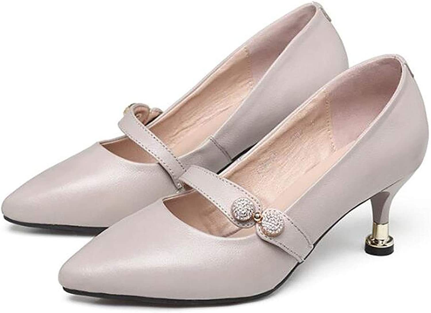 Women's shoes high Heel Thick Heel shoes Comfortable Female shoes Work shoes Women (color   B, Size   34)