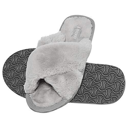 soxo Damen Plüsch Fluffy Hausschuhe | Größe 35-36 | Bequeme Plüschfell Pantoffeln | Frauen Hausschlappen mit rutschfeste elastische Sohle | Grau