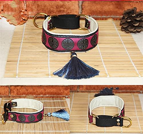 PPuujia Collar de perro para mascotas Collar étnico de piel de oveja collar adecuado para galgos italianos/azotas/cachorros/perro grande (color: 7, tamaño: M)