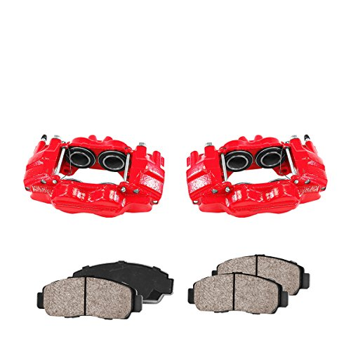 Callahan CCK01145 [2] FRONT Performance Loaded Powder Coated Red Caliper Assembly + Quiet Low Dust Ceramic Brake Pads