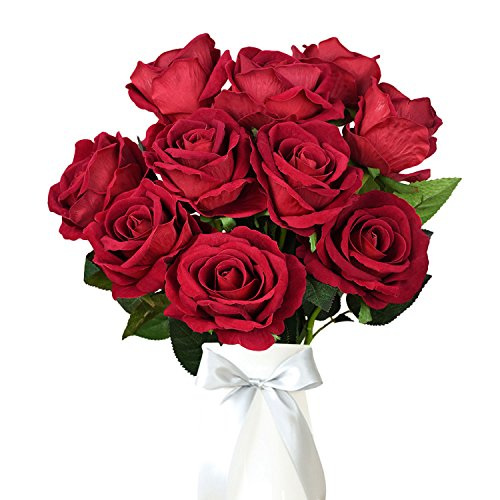 Alishomtll Seide Künstliche Rose Blumen, Unechte Deko Blumen Künstblume Seidenrosen 10 Köpfe Plastik Brautstrauß für Haus Garten Party (Rot)