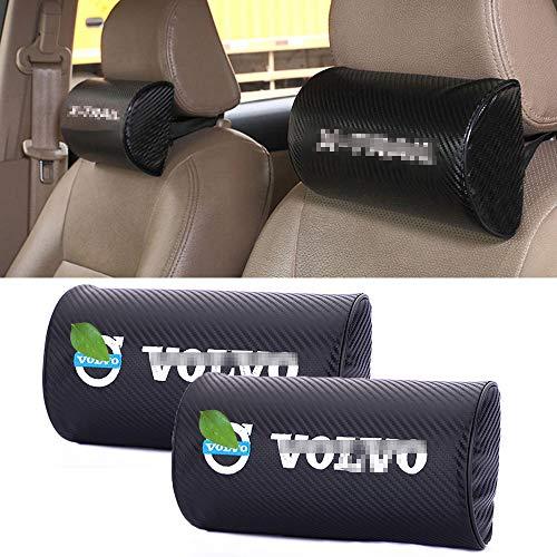 ZGYAQOO 2 StüCk Kohlefaser Textur Pu Leder KopfstüTzePad, Auto Sitzkissen Stickerei Nackenkissen, für Volvo