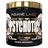 Insane Labz Psychotic Gold, High Stimulant Pre Workout Powder, Extreme Lasting Energy, Focus, Pumps and Endurance with Beta Alanine, DMAE Bitartrate, Citrulline, NO Booster, 35 Srvgs, Fruit Punch