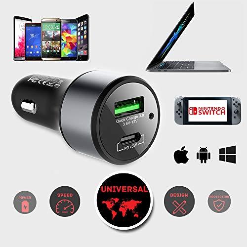 63W LinkOn KFZ Autoladegerät mit 45W USB C PD3.0 PPS und 18W USB-A Qualcomm QC3.0 für MacBook, Google Pixel, iPad, iPhone X, 8, Samsung S8 S9 S10 S20 Huawei Android und Nintendo Switch