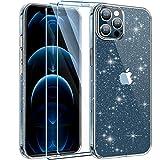 AROYI Funda Compatible con iPhone 12 y 12 Pro Funda Glitter Liquid Crystal Brillante Transparente Carcasa, 2 Piezas Protector de Pantalla